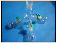 Lab Glass Short-path Distillation Receiver Kit W three 50ml flasks,lab glassware