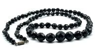Vintage Faceted Black Jet Glass Graduated Bead Necklace 29 Inches