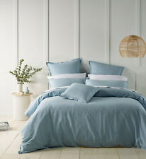 Wellington Quilt Cover Set Soft Blue by Bianca   Smartly tailored edging