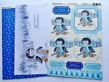 Kanban Cute Penguin Christmas Die Cut Foiled Toppers,Card, Insert Kit 54376