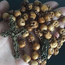 VINTAGE TIBET OXEN BONE SKULL BEADS 5 DECADE ROSARY CATHOLIC GIFT NECKLACE CROSS