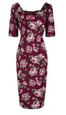 Collectif Red Floral Wiggle Dress Size 10