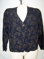 Carole Little Black Gold Long Sleeve Button Front Blazer Womens Size Large 12 14