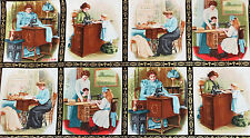 "Vintage Sewing Singer Antique Scene Blocks w/Metallic 24"" Panel Fabric #5726"