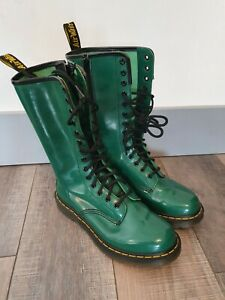 Dr MARTENS 1B99 14 Eyelet Mid Calf Boots Green Size UK6