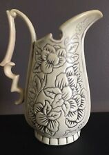 Vintage Red Wing Pottery Pitcher with Embossed Flowers No. 1186 USA