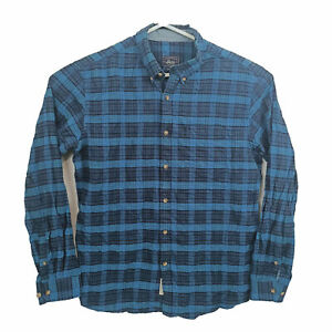 GH Bass Mens Shirt Size L Blue Checkered Long Sleeve Button Down Made In USA