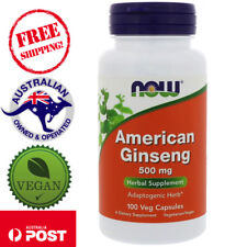 Now Foods, American Ginseng, 500 mg, 100 Vegan Capsules - Herbal Supplement