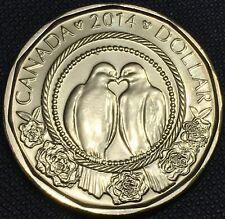 "2014 Canada Special Edition 1 Dollar ""TURTLE DOVES"" Loonie Coin, UNC"