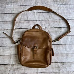 LL BEAN Brown leather crossbody messenger