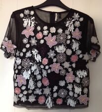 922d7f0471 PRETTY BNWT TOPSHOP BLACK 3D CLUSTER EMBELLISHED T SHIRT GOING OUT TOP SIZE  10