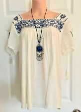 NWT-LUCKY BRAND MEXICAN INSPIRED BoHo CHIC HIPPIE/PEASANT TOP-Sz  L