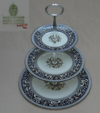 "Wedgwood ""Florentine"" (Dark Blue, Floral Center, W1079) THREE TIER CAKE STAND"