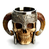 Retro Double Wall Resin Striking Warrior Tankard Viking Skull Coffee Tea Mug Cup