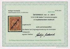 Österreich 1918 Nr. 240 K 80 Heller mit kopfstehendem Aufdruck BEFUND Soecknick