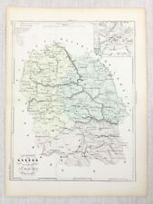 1881 Antique French Map Mende Lozere France Old Hand Coloured Engraving