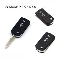 Uncut Blade Flip Keyless Entry Remote Folding Key Fob Shell For Mazda2 3 4 5 RX8