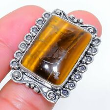 Tiger'S Eye Gemstone Handmade 925 Sterling Silver Ring Jewelry 9.7 Size 7789