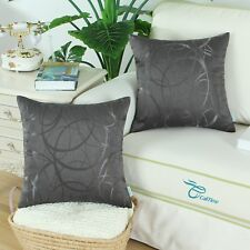 2Pcs CaliTime Gray Cushion Covers Pillow Shell Striped Circle Sofa Decor 50x50cm