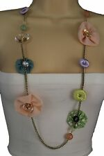 New Women Gold Metal Chain Artsy Fashion Necklace Big Flower Buttons Fabric Deco