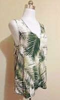 Witchery Top Size 8 - Botanical Leaf Print Green White Sleeveless Hi-Low Crepe