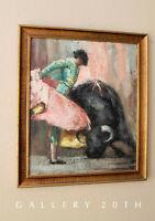 MID CENTURY MODERN ABSTRACT SPANISH MATADOR ORIGINAL ART! BULLFIGHTER 60'S VTG