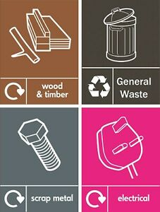 Recycling waste signs - Wood - Metal - Electrical WEEE - General Waste Notices