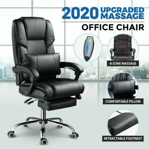 8 Point Massage Office Chair Computer Desk Chair Heated Recliner Leather Black