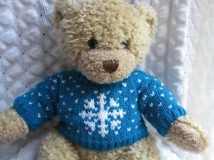 HAND KNITTED TEDDY BEAR JUMPER FITS BUILD A BEAR CHRISTMAS SNOWFLAKE