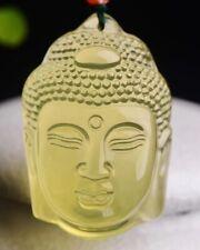 100%Natural Yellow Citrine Crystal Quartz Buddha Vairocana Pendant Reiki Healing
