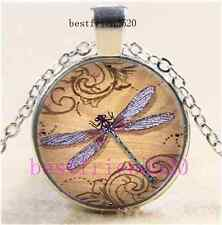 Dragonfly Photo Cabochon Glass Dome Silver Chain Pendant Necklace#A32
