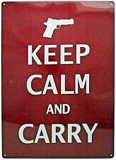 "12"" x 17"" Tin Metal Sign Wall Hang Keep Calm And Carry Gun Pistol 2nd Amendment"