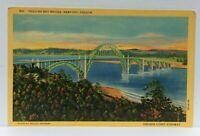 Newport Oregon Yaquina Bay Bridge Linen Vintage Postcard