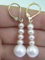 DIY PAIR OF AAA 10-11MM SOUTH SEA WHITE PEARL EARRING 14K GOLD