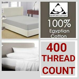 """400 Thread Count 100% Egyptian Cotton Satin Extra Deep Fitted Sheet 16"""" Depth"""
