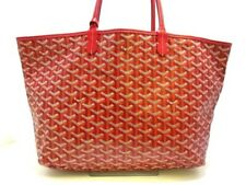 Auth GOYARD Saint Louis PM Red White Multi Coated Canvas Leather Tote Bag