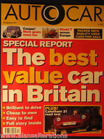 AUTOCAR Magazine 19th March 1997 Best Value car in UK