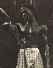 Vintage Lionel Wendt Ennui Asian Male Semi Nude Ceylon Photogravure Photo Print