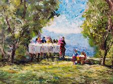 W.H. Unger - Kaffeetisch im Garten - Öl-Gemälde auf Malplatte 70x50cm