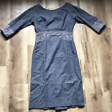 Vintage 40s Pernes Feinstein 40s Grey Wool Lace Insert 3/4 Sleeve Fitted Dress