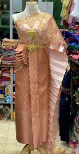Thai Traditional Khmer Wedding Dress Silk Vintage Skirt Sash Lace Thai Dance