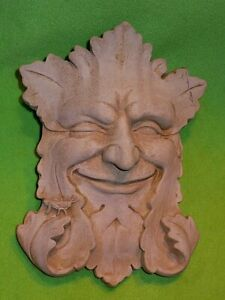 """CARRUTH smiling & winking FOREST LEAF MAN cement stone sculpture / plaque 10 """" H"""