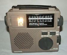 Grundig FR-200 Emergency Crank Radio Flashlight SW AM FM Receiver Great Cond