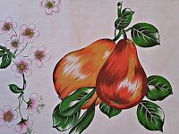 VINTAGE FLORAL ART PEARS WHITE ORANGE GREEN BROWN COTTON KITCHEN TEA TOWEL