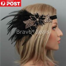 1920s Headband Black Feather Bridal Great Gatsby Flapper Headpiece 20s Gangster