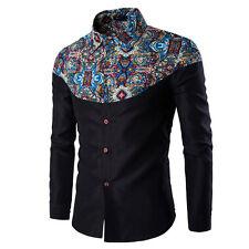 Stylish Men Casual T Shirts Printed Long Sleeve Slim Fit Cotton Dress Shirt Tops