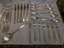 1938 Vintage Rogers Bro. Silver Plate Flatware Rosalind Pattern Art Deco 30 Pcs.