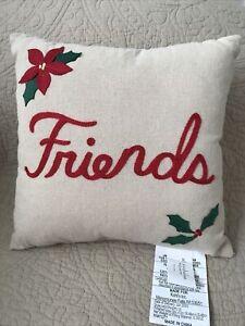 "NEW St. Nicholas Square 12""x12""~""FRIENDS"" Christmas Toss Pillow•Kohl's"