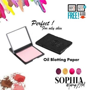 FACIAL OIL BLOTTING SHEETS TISSUES x50 ANTI-SHINE IN METAL CASE BY BARBARA DALY