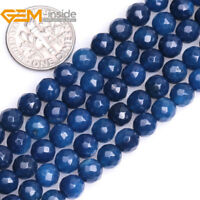 "Dark Blue Agate Faceted Round Loose Beads For Jewellery Making Strand 15"" UK"